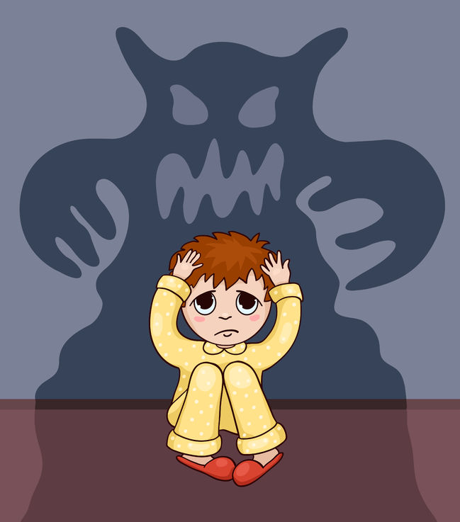 Little Boy And His Fear. Vector Cartoon Illustration.