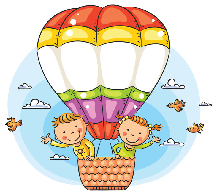 Happy Cartoon Kids Travelling By Air With Copy Space Across The Balloon
